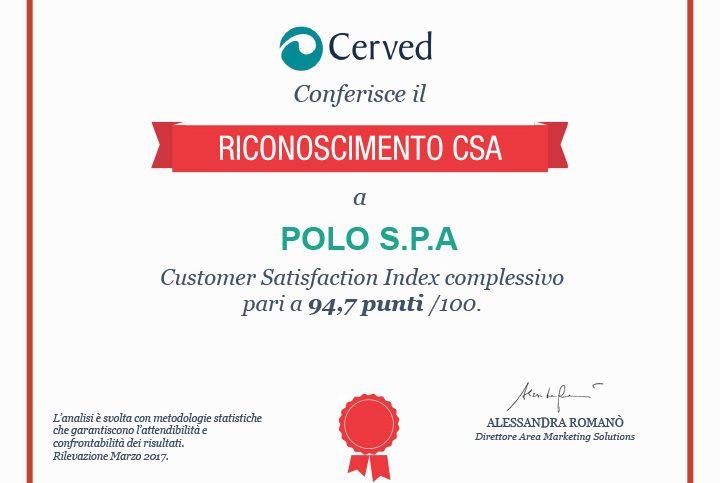 Certificato Soddisfazione Cliente 2017